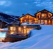 luxury chalet in the snow