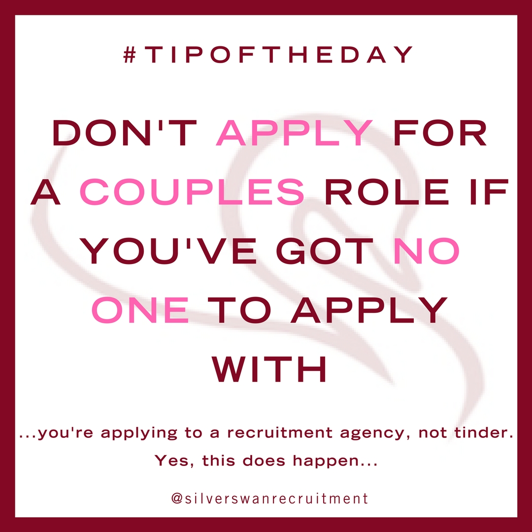 don't apply for a couples role if you're alone