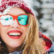 wavy winter hair smiling woman