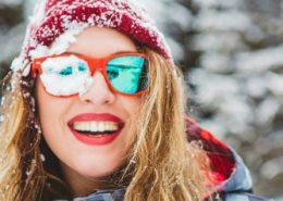 wavy winter hair smiling woman