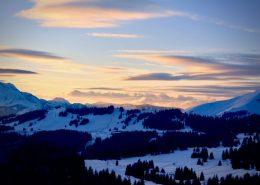 snow mountains sunrise
