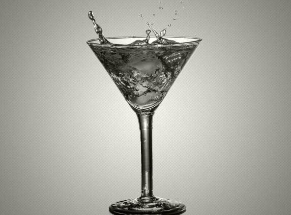 black and white cocktail martini glass