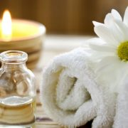 towel candle flower oil