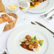 food on plate on table