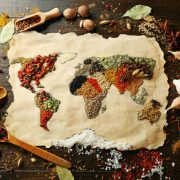 world map and spices