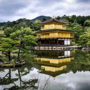 Japanese shrine with lake surrounding it