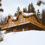 wooden chalet snow