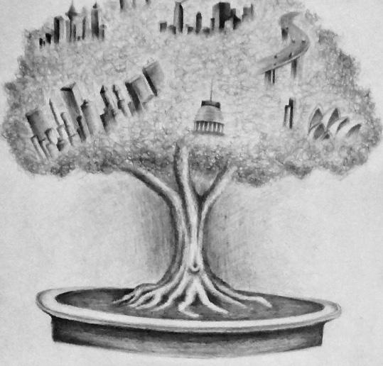 Tree drawn in pencil