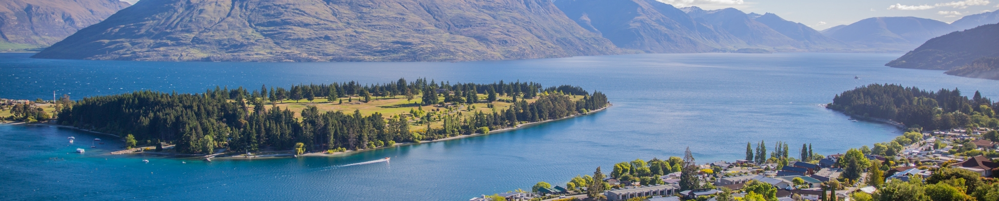 Lake with an island in the middle of it - New Zealand