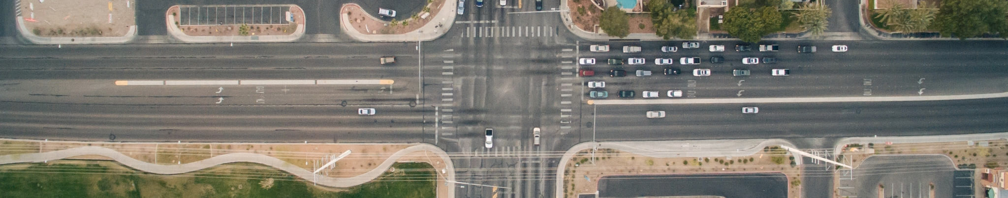 Road junction from birds eye, aerial view