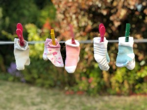 Kids socks on a washing line