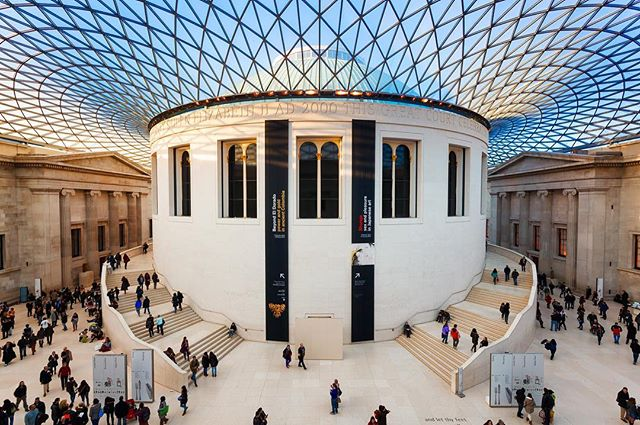 View of the main hall of the British Museum
