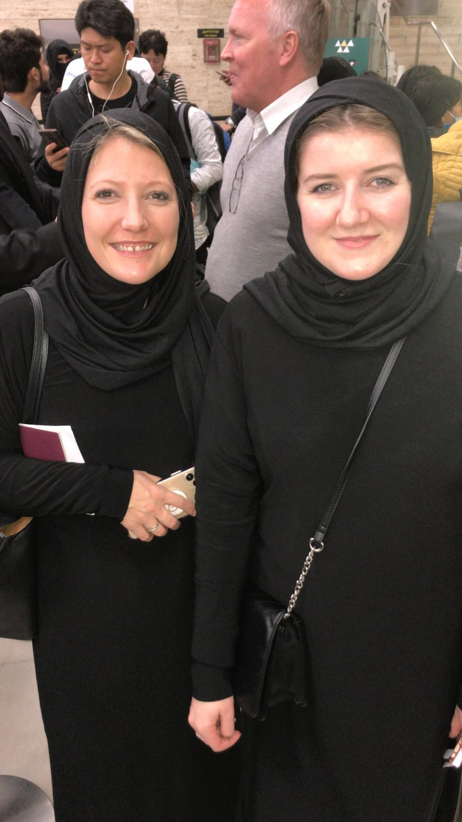 Two ladies in Middle Eastern dress